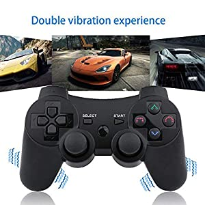 PS3 Controller Wireless Gamepad for Playstation 3 Wireless Remotes with Charging Cable (Blue and Purple Set) (Color: Blue and Purple Set)