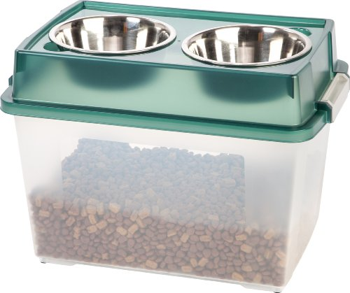IRIS Large Elevated Feeder with Airtight Storage, Green