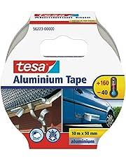 Tesa - Cinta de Aluminio autoadhesiva (10 m x 50 mm), Color Plateado