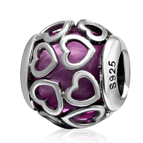 925 Sterling Silver Heart Charm Crystal Charm Love Charm Valentine Charm Anniversary Charm Birthday Charm for Pandora Charms Bracelet (Purple) (Charms Heart Birthday)