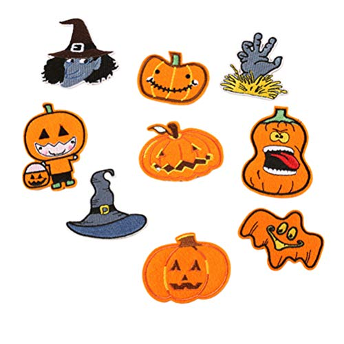 9 Pcs Embroidery Applique Adhesive Patches DIY Sticker for Jackets Jeans Bags Clothing Arts Crafts Decoration Denim Piece - Halloween Party Favors Theme]()