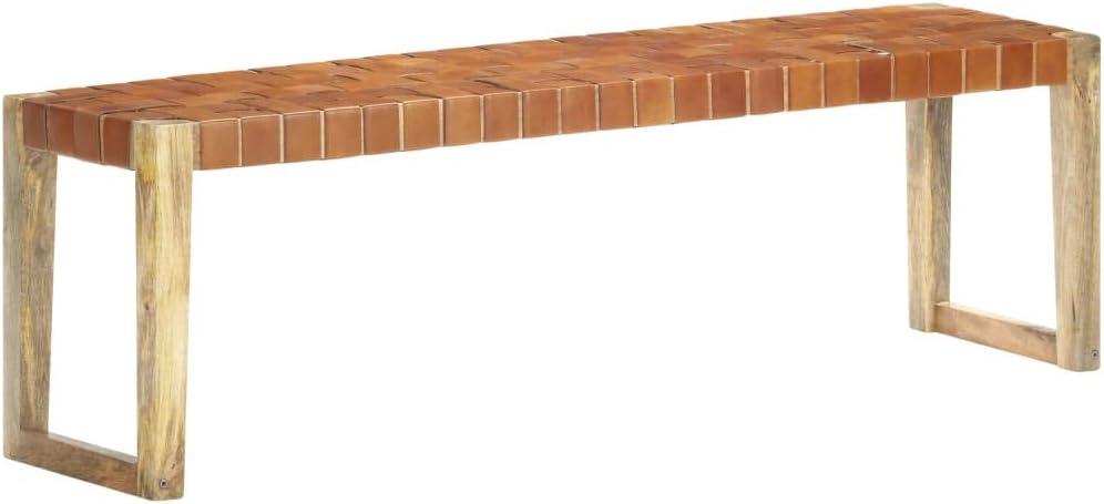 vidaXL Madera Maciza de Mango Banco Patio Pasillo Comedor Decoración Recibidor Asiento Silla Duradero Estable de Cuero Auténtico Marrón 150 cm