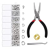 1500 Pieces Jump Rings with Lobster Clasps and Jewelry Pliers for Jewelry Making Supplies Findings and Necklace Earring Repair, Silver