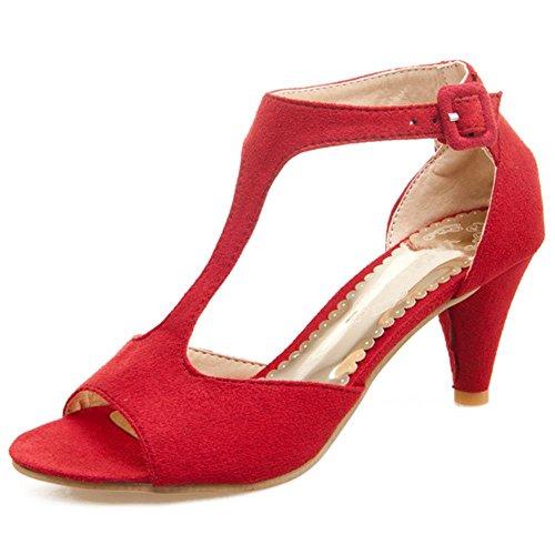 COOLCEPT Mujer Moda Correa En T Mini Tacon Sandalias Stylish Punta Abierta Zapatos Rojo