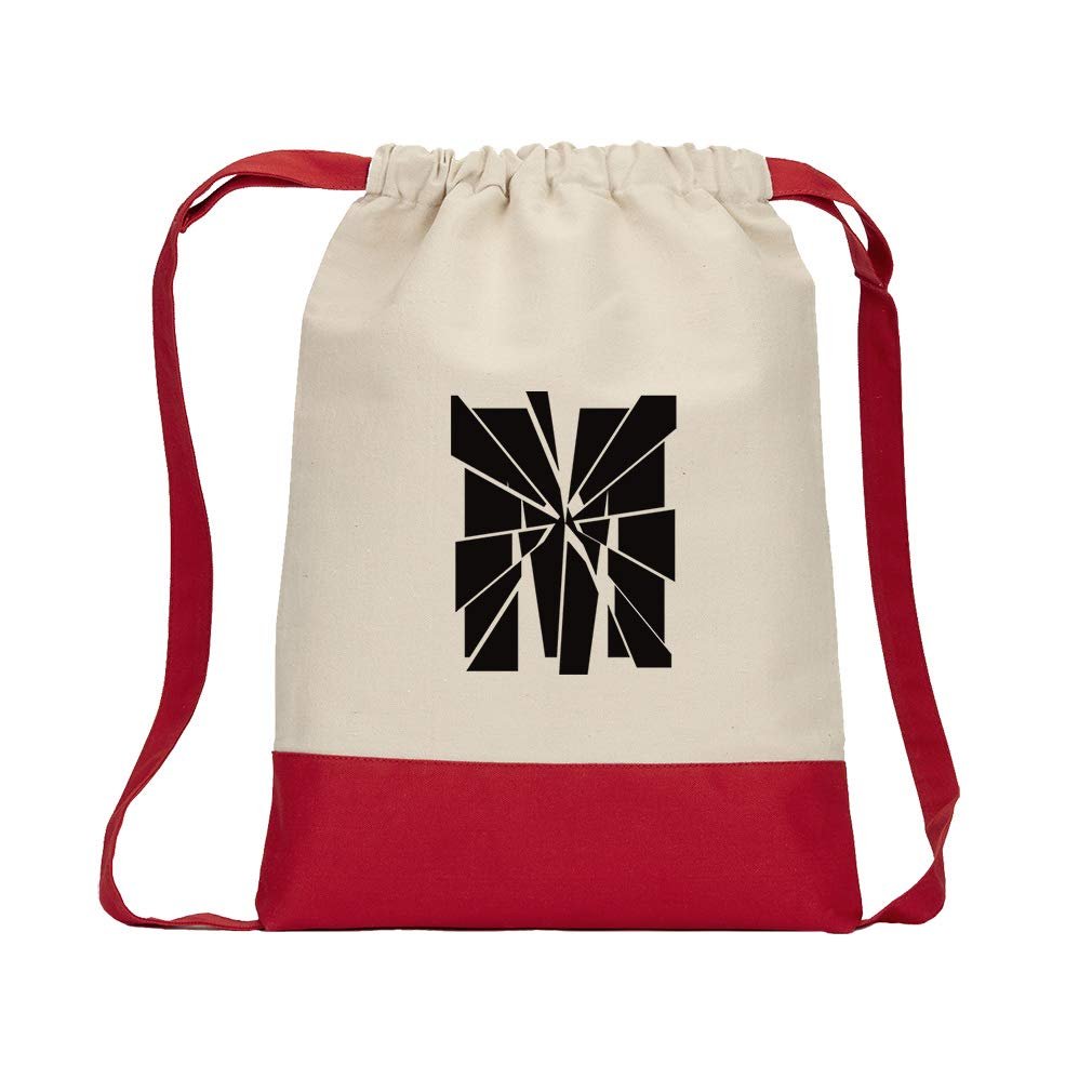 ''M'' Glass Initial Monogram Letter M Cotton Canvas Color Drawstring Bag Backpack - Red