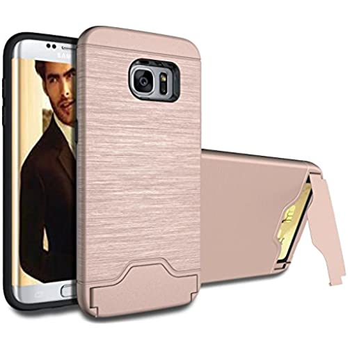 Galaxy S7 Edge Case, ArtMine [Hybrid Dual Layers][RoseGold] Hard Shell & Silicone with Credit/ID Card Slot and Sales