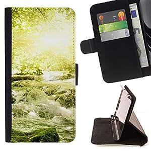 Momo Phone Case / Flip Funda de Cuero Case Cover - Naturaleza Hermosa Forrest Verde 18 - Samsung Galaxy Note 4 IV