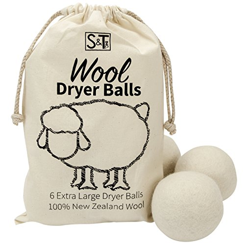 S&T 559701 New Zealand Wool Dryer Balls - XL Size - Natural White, 6PK