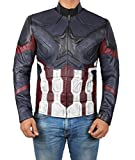 jacket captain america - Captain America Leather Jacket - Avengers Infinity War Jacket Costume for Adults (Captain America Distress Jacket, M)