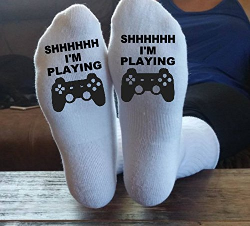 SHHHH I'm Playing, Video Games, XBox, Playstation, PS4, PS3, Xbox One, Online, Gamer, Socks, Gamer Socks, Call Of Duty, Christmas Gift, by Taylored Custom Coatings