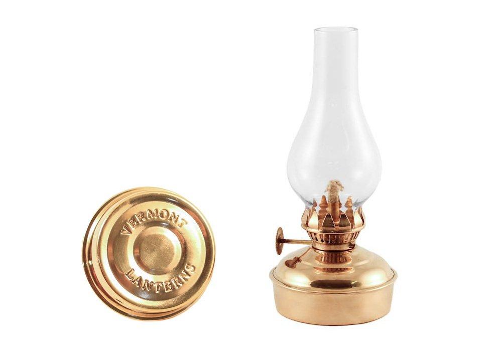 Emergency Lantern Hanging Brass Mini Oil Lamp 6.5'' Kit - Wall Oil Lamps - Lantern Sconce