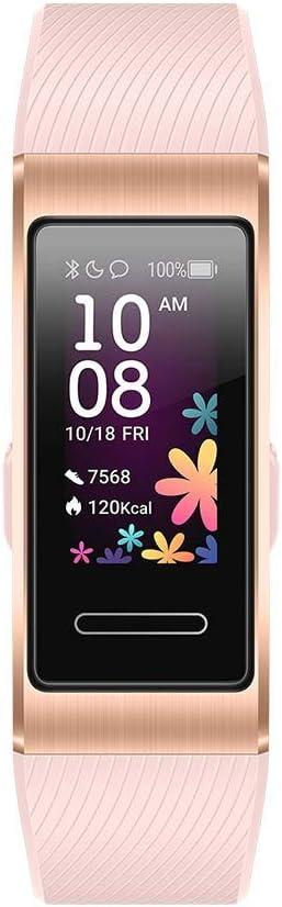 HUAWEI Band 4 Pro - Pulsera de actividad con pantalla AMOLED de 0.95 pulgadas, monitorización continua con TruSeen 3.5 24/7, monitoreo del sueño, GPS incorporado, 5 ATM, color pink gold