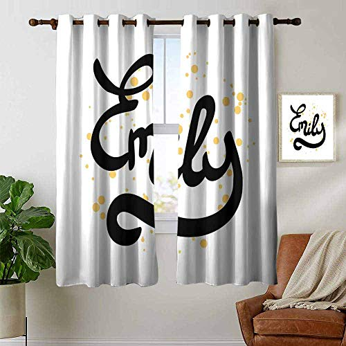 """petpany Curtains for Living Room Emily,Hand Drawn Monochrome Cursive Font Modern Calligraphic Signature Design,Mustard Black and White,Complete Darkness, Noise Reducing Curtain 42""""x45"""""""