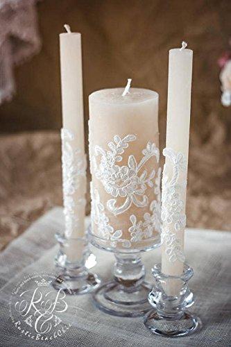Amazon.com: Lace Unity Candle Set, Rustic Wedding Unity Candle ...