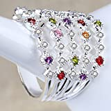Fashion Multi-Color Topaz Silver Filled Wedding Bridal Ring Gift Size 6-10 (8)