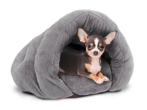 PLS Birdsong The Original Cuddle Pouch Pet Bed (Extra Small), Dog Cave, Covered Hooded Pet Bed, Cosy, for Burrower Cats and Dogs, Gray
