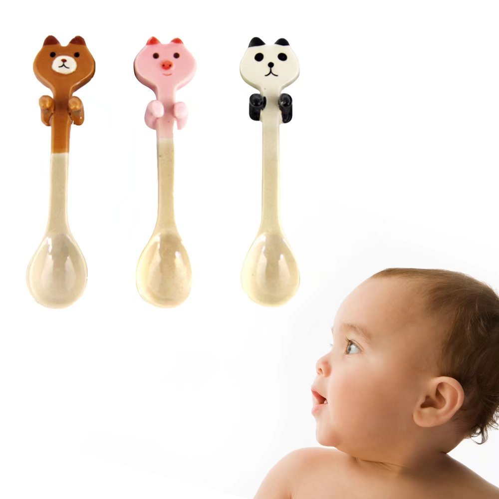 KateDy 3pcs Baby Ceramic Dessert Spoon Cute Animals Handle Tea Coffee Feeding Small Spoon,Can Be Hanging Cup Spoons,Perfect Gift for Boys Girls(Panda+Pink Pig+Bruins) by Katedy (Image #7)