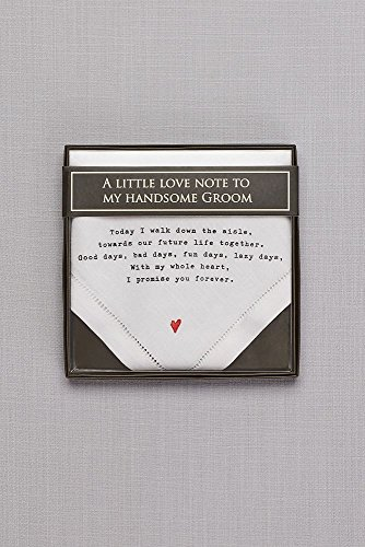 Groom Love Note Handkerchief Style 98110004, White by David's Bridal (Image #1)