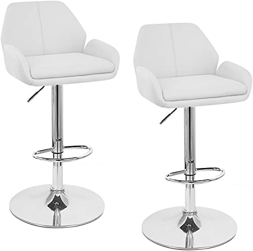 "Set of 4 Tesla Contemporary ""Leather"" Adjustable Barstool"