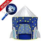 Yoobe Rocket Ship Play Tent - with BOUNS Space Torch Projector Indoor/Outdoor Children Playhouse