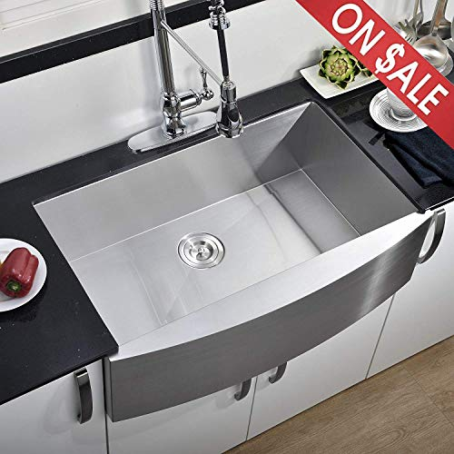 (Comllen 33 Inch 304 Stainless Steel Farmhouse Kitchen Sink, Single Bowl 16 Gauge 10 Inch Deep Handmade Undermount Kitchen Apron Sink )