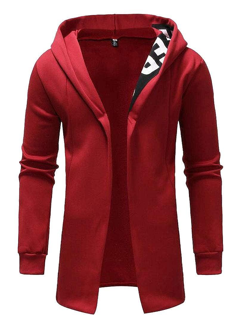 Fubotevic Mens Casual Regular Fit Long Sleeve Open Front Cardigan Hooded Sweatshirt Coat