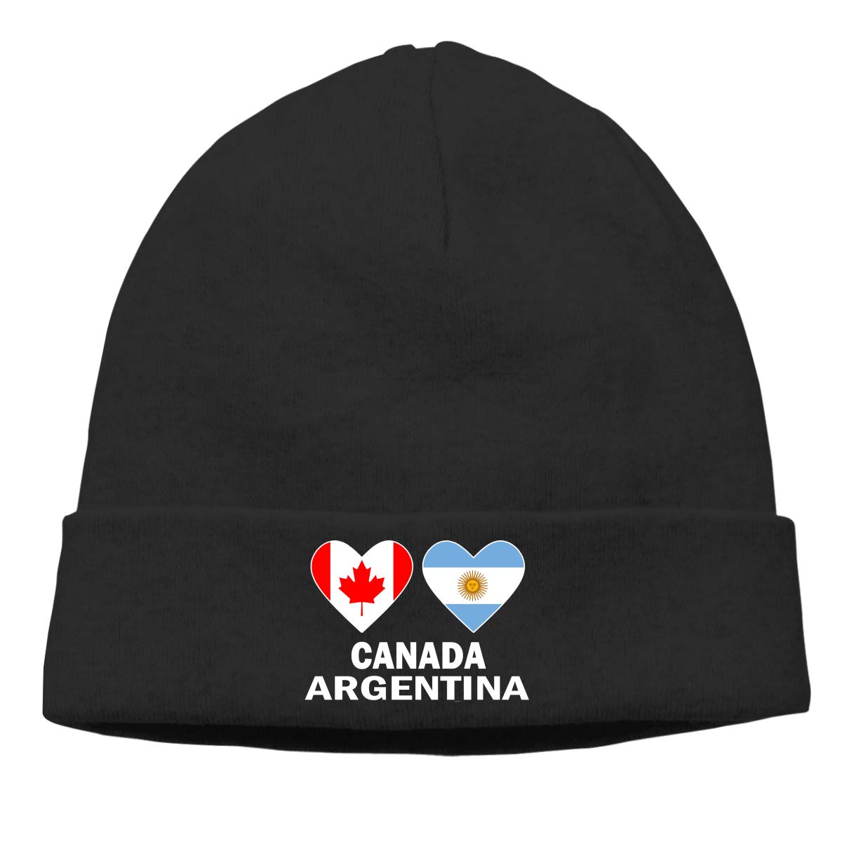 E6EP9E Canada Argentina Hearts Warm Skiing Skull Cap Women Men Running Thin Beanie