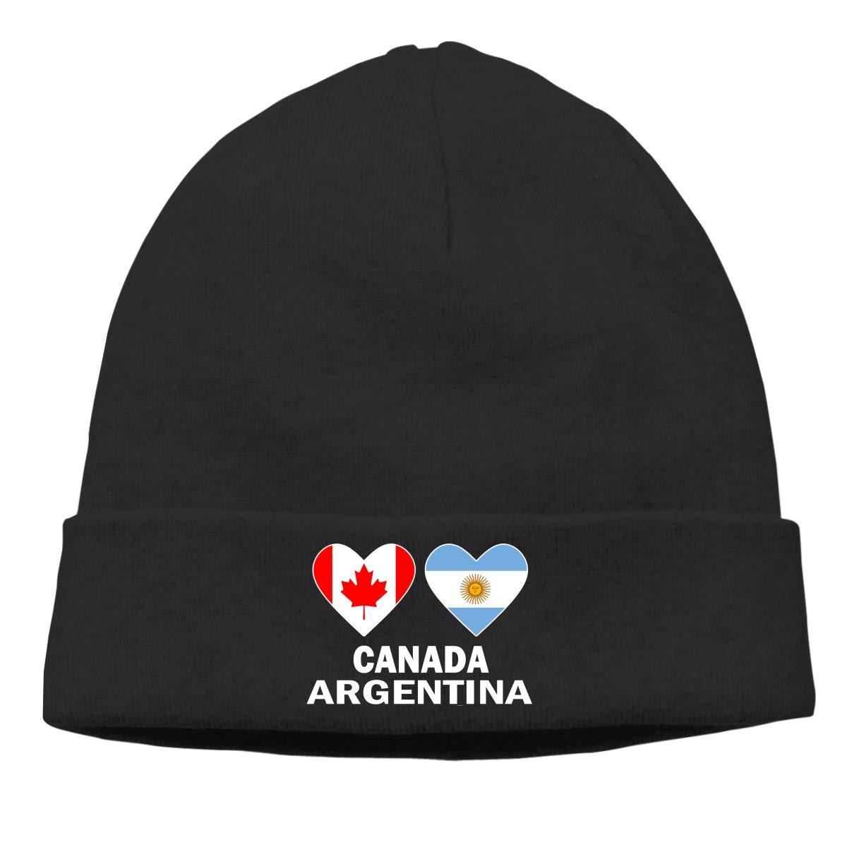 E6EP9E Canada Argentina Hearts Warm Skiing Skull Cap Women Men Running Thin Beanie