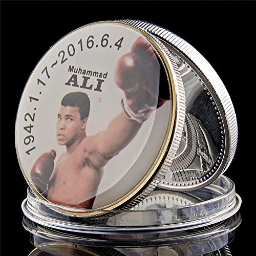 Momoso_store World Professional Boxing All Star Mohamed Ali Celebrity Series Silver Plated Zinc Alloy Collection Coin in Acrylic Case, repilica Toys
