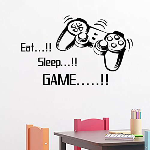 Homefind Gamers World - Eat Sleep Game - Quotes Wall Stickers for Net Bar Living Room Bedroom Removable Kids and Boys Room Wall Decals Decoration (33.7