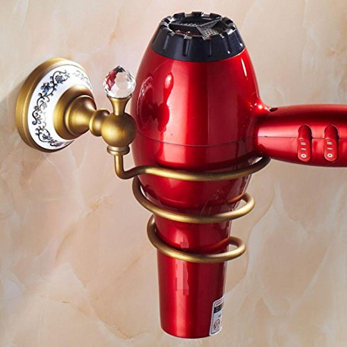 GL&G European High-end all bronze Spiral Hair Blow Dryer Stand Wall Mount Bathroom Accessories Portable Hair Dryer Holder Space Saving Design for Bathroom Storage by GAOLIGUO