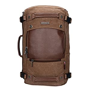 Witzman Men's Vintage Canvas Duffel Shoulder Backpack Travel A2020
