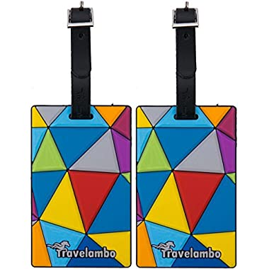 Travelambo PVC Plastic Rubber Luggage Tag with Genuine Leather Strap 2 Pieces Set Triangle