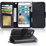 Iphone 6s Case, iphone 6 case, Arae Apple Iphone 6 / 6s [Wrist Strap] Flip Folio [Kickstand Feature] PU leather wallet case with ID&Credit Card Pockets (Black)