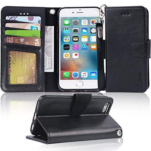 Arae Case for iPhone 6s / iPhone 6, Premium PU Leather Wallet case [Wrist Strap] Flip Folio [Kickstand Feature] with ID&Credit Card Pockets for iPhone 6s / 6 4.7 inch (Black)