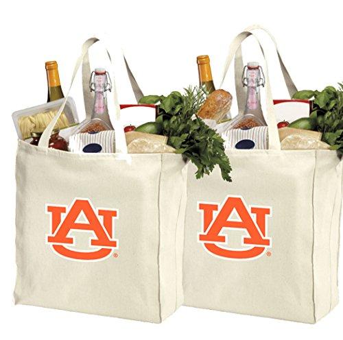 Reusable Auburn Shopping Bags or Auburn University Grocery Bag 2Pc SET NATURAL COTTON