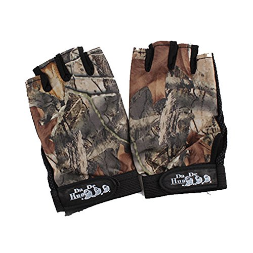 Isafish Fishing Hunting Gloves 3 Cut Finger Anti-Slip Camouflage Color Breathable Waterproof Gloves Outdoor Sun Protection Gloves