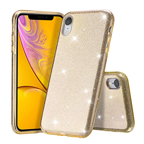 ProCase iPhone XR Glitter Case, Cute Sparkle Bling Soft Bumper Case Protective Cover (Supports Wireless Charging) for Girls Women for Apple iPhone XR 6.1 (2018 Release) -Gold