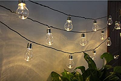 KINGCOO Solar Bulb String Lights, Waterproof 4M 10 LED Plastic Solar Bulbs Fairy Lights with 2 Modes Solar Garden Lights for Outdoor,Christmas Decorations