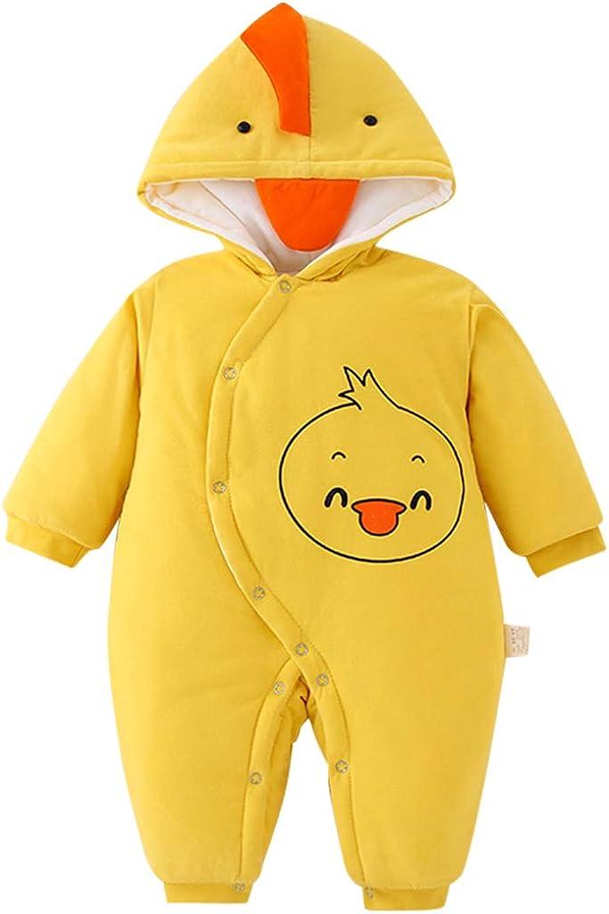 Bebé Invierno Mameluco con Capucha Pelele Manga Larga Denso Monos Niñas Niños Pijama Abrigo de Invierno Outwear 3-18 Meses
