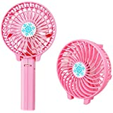 MonkeyJack Air Cooling Handheld Fan Palm-Leaf Personal Cooling Rechargable Battery - Pink, 220x100x30MM