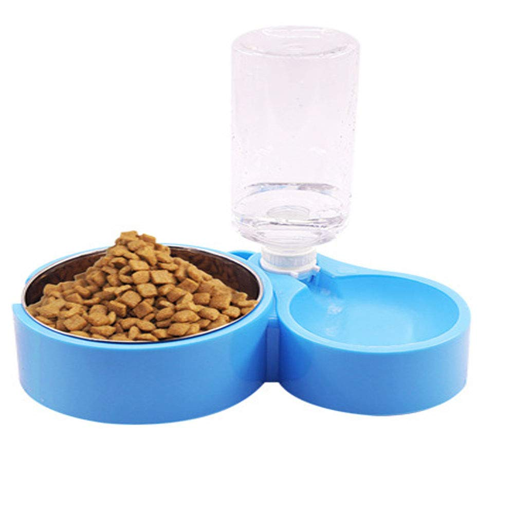 bluee Pet Bowl, Stainless Steel Dog Bowl, Non-Slip Cat Multi-Purpose Pet Feeder, Can Hang Pet Supplies Double Bowl Pink Very Good (color   bluee)