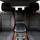 bmw 328i seat covers - FH GROUP PU205115 Ultra Comfort Leatherette Seat Cushions, Black w. Red Trim Color- Fit Most Car, Truck, Suv, or Van