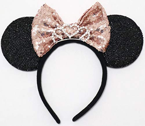CLGIFT RoseGold Minnie Mouse Ears Headband Shiny Black Glittery Rose gold Bow Tiara Birthday Party/Disney Princess Ears/Disney Princess Ears/One Size fits Most -
