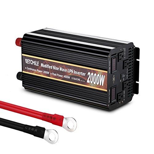 VETOMILE 2000W Power Inverter Modified Sine Wave UPS Peak 4000W 12V DC to 110V AC Converter USB Port 4 AC Output Sockets Built-in Fuse Protection -