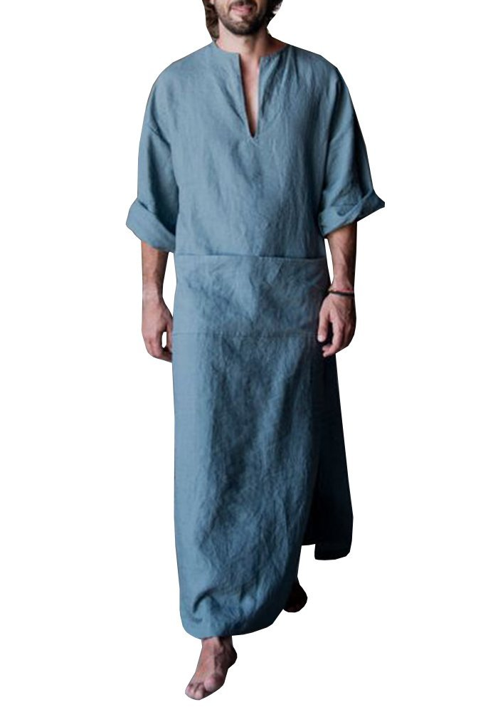 Men's Casual Muslim Kaftan Abaya Thobe Arab Islamic V Neck Long Robes Side with Pockets