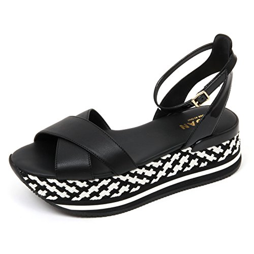 C8876 sandalo donna HOGAN fasce incrociate nero/bianco sandal shoe woman Nero