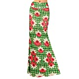 Women Floral Print Maxi Skirt High Waist Hip Package Long Skirt Summer Foldover Full Skirts for Daily Evening Party Beach Travel Green Flower L