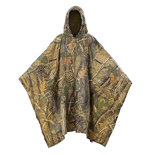 Multifunction Military Camouflage Portable Emergency Rain Poncho, Hooded Ripstop Ripstop Raincoat Camo Nylon Totes Travel Rainwear for Camping Hiking Cycling Hunting (Maple Leaf)
