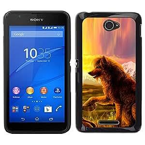 EJOY---Cubierta de la caja de protección para la piel dura ** Sony Xperia E4 ** --Perro del lobo del cuento de hadas del arte de la naturaleza Campo Vista